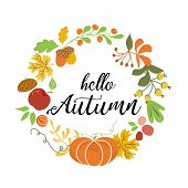 Hello Autumn Wreath Fall Elements Orange Pumpkin Maple Leaves Apple Acorn Harvest Nature Design Fall poster