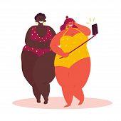 Cartoon Fat Selfie On White Background. Healthy Women In Bikini, Isolated Vector. Body Positive Girl poster