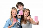 Three teenagers with driving licences