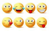 Smiley Face Vector Set. Smileys And Yellow Emoticons With Happy, Funny, Kissing, Laughing And Tired  poster