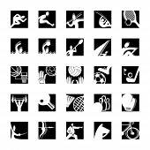 sport icon set bw