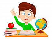 Back To School. Cute Boy Sitting At The Table And Reading Abc Book. Funny Cartoon Character Waving H poster