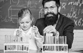Explaining Chemistry To Kid. How To Interest Children Study. Fascinating Chemistry Lesson. Man Beard poster