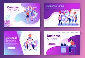Set Of Landing Page Templates. Modern Flat Concept Web Banners With People Character. Business Servi poster