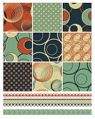 Retro Patchwork Vector Patterns.  Use to create retro backgrounds and fabric pieces with a modern tw