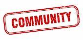 Community Stamp. Community Square Grunge Sign. Community poster