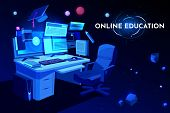 Online Education Banner, Student Workplace With Computer Table, Pc Monitor And Armchair, Home Workin poster