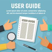 User Guide Paper Concept Banner. Flat Illustration Of User Guide Paper Vector Concept Banner For Web poster