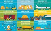 Goods Export Banner Set. Flat Illustration Of Goods Export Vector Banner Set For Web Design poster
