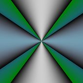Metallic Cross On Green And Blue Background