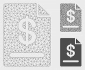 Mesh Invoice Model With Triangle Mosaic Icon. Wire Carcass Triangular Mesh Of Invoice. Vector Mosaic poster