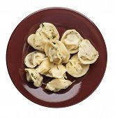 Dumplings On A Brown Plate Isolated On White Background .boiled Dumplings.meat Dumplings Top View .p poster