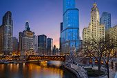 stock photo of illinois  - Image of Chicago downtown district at twilight - JPG