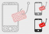 Mesh Smartphone Message Phishing Model With Triangle Mosaic Icon. Wire Carcass Triangular Mesh Of Sm poster