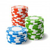 Casino chips stacks. Vector.