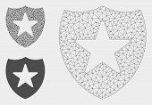 Mesh Guard Shield Model With Triangle Mosaic Icon. Wire Frame Polygonal Mesh Of Guard Shield. Vector poster