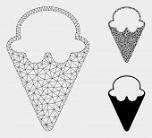 Mesh Ice-cream Model With Triangle Mosaic Icon. Wire Carcass Triangular Mesh Of Ice-cream. Vector Mo poster
