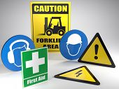 3D render of set of basic Safety at work warning and information signs on white background poster