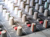 Sound Equalizer Mixing. Professional Studio Equipment For Sound Mixing. Music Studio Image. Close Up poster