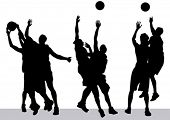 Vector graphic basketball. Silhouette man with ball