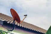 Satellite Dish Or Satellite Antennas Mounted On The Roof. Tv Antenna Concept poster