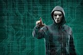 Dangerous hacker over abstract digital background with binary code. Obscured dark face in mask and h poster