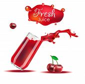 Vector Realistic Isolated Illustration Of Cherry And Cherry Juice In Glass. Cherry Juice Splash From poster