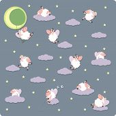 picture of counting sheep  - Try to counting sheeps for sweet dreams - JPG