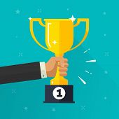Winner Success Golden Cup In Hand Vector Illustration, Flat Cartoon Award Prize Or Achievement, Comp poster