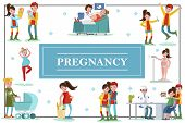 Flat Colorful Pregnancy Template With Happy Caring Fathers And Pregnant Women In Different Situation poster