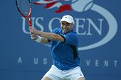 FLUSHING, NY - SEPT 1: Andre Agassi plays against Ivo Karlovic in the second round of the US Open on September 1, 2005 in Flushing, New York . Agassi won 7-6, 7-6, 7-6.