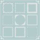 Vintage Set Of Vector Elements. Different White Square Elements For Decoration And Design Frames, Ca poster