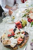 Beautifully Decorated Catering Banquet Table With Different Food Snacks And Appetizers With Sandwich poster