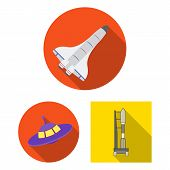 Isolated Object Of Spaceship And Ship Sign. Set Of Spaceship And Station Bitmap Icon For Stock. poster