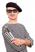 stock photo of beret  - French artist in beret with three brushes - JPG
