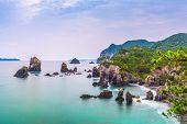 Omijima Island, Yamaguchi, Japan rocky coast on the Sea of Japan. poster