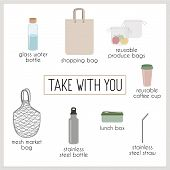 Set Of Vector Elements, Eco, Green And Zero Waste Lifestyle. Shopping Fabric Eco Bag, Glass Water Bo poster