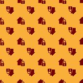 Red House Under Protection Icon Isolated Seamless Pattern On Brown Background. Home And Lock. Protec poster