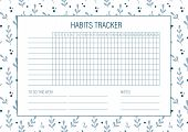 Habit Tracker Blank With Hand Drawn Floral Texture. Bullet Journal Template. Monthly Planer. Vector  poster