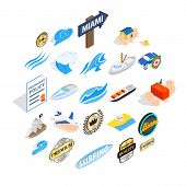 Rest On The Sea Icons Set. Isometric Set Of 25 Rest On The Sea Icons For Web Isolated On White Backg poster