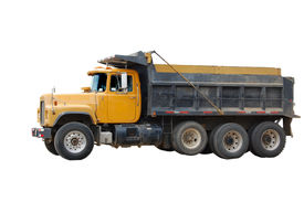 foto of dump_truck  - Yellow Dump Truck isolated on a white background - JPG