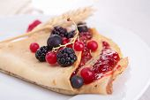 crepe with fruits and jam