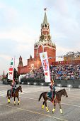MOSCOW - AUGUST 31: Riders of cavalry honorary escort of Presidential Regiment at Military Music Fes