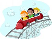 Illustration of Kids Riding a Crayon Shaped Roller Coaster Car