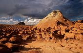 foto of contortion  - The contorted hondoos on a stormy day in Goblin Valley State Park Utah - JPG
