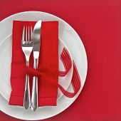 Knife And Fork With Red Table Setting For Valentines Day