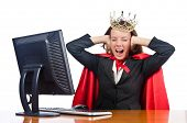 stock photo of superwoman  - Superwoman worker with crown working in office - JPG