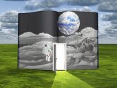 foto of encounter  - Book with science fiction scene and open doorway of light - JPG