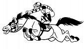 caballo de carreras con jinete negro blanco