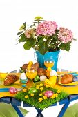 foto of duck egg blue  - Detail easter table in blue and yellow - JPG